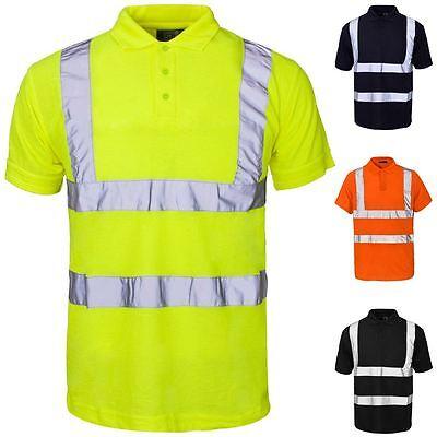 New Mens Hi Vis High Visibility Long Sleeve Grey Collared Polo Work Shirt