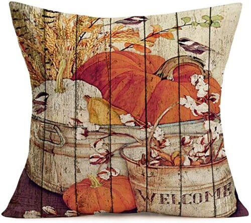 Autumn Farm Pumpkin Scarecrow Thanksgiving Decorative Pillow Case Cushion Cover