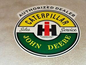 VINTAGE-CATERPILLAR-JOHN-DEERE-INTERNATIONAL-HARVESTER-1-METAL-GASOLINE-OIL-SIGN