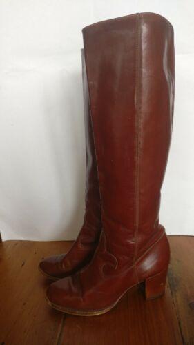 Vintage tacón hasta la rodilla medio señoras, cremallera de Cuero Marrón Castaño botas talla 4 70s