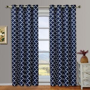 Navy Meridian Room Darkening Grommet Window Curtain Drapes