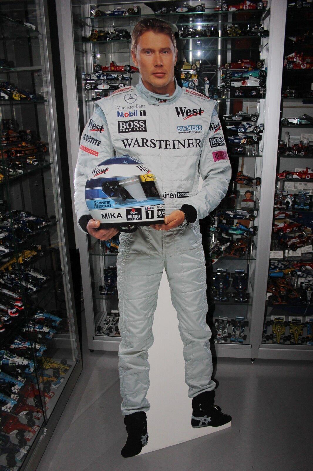 Cardboard Figurine Mika Häkkinen West McLaren Mercedes F1 Team (height 174 cm)