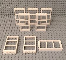 Lego X8 New White Frame W/ Three Panes 1x4x6 Window With Trans-clear Glass Parts