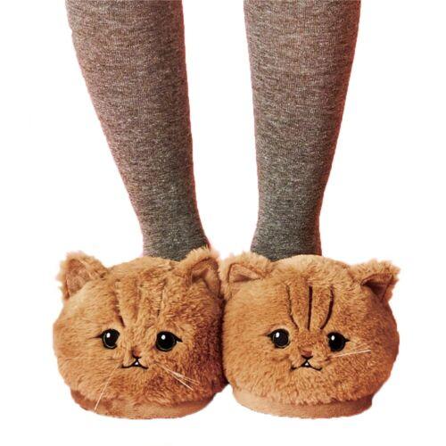 Women Plush Cat Slippers Winter Warm Home Soft Cozy Indoor Kitten Pet Comfort