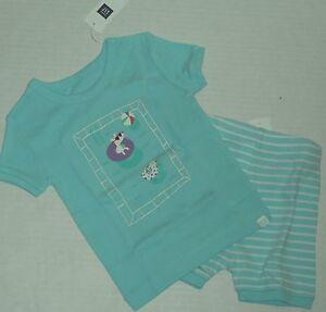 f45617e8d10a BABY GAP Girl s Light Mint Green Swimming Dog Short Pajamas Size 6 ...
