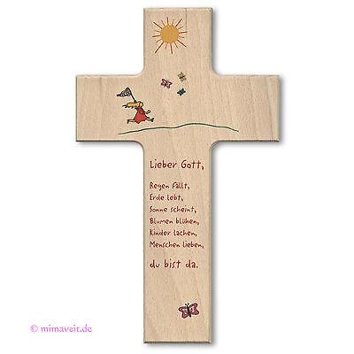 Holzkreuz Holz Kreuz Buche - Freude am Leben - Kommunion Taufe Kinderkreuz  | eBay