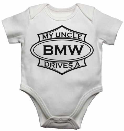 My Uncle Drives a BMW Personalised Baby Vests Bodysuits for Boys Girls