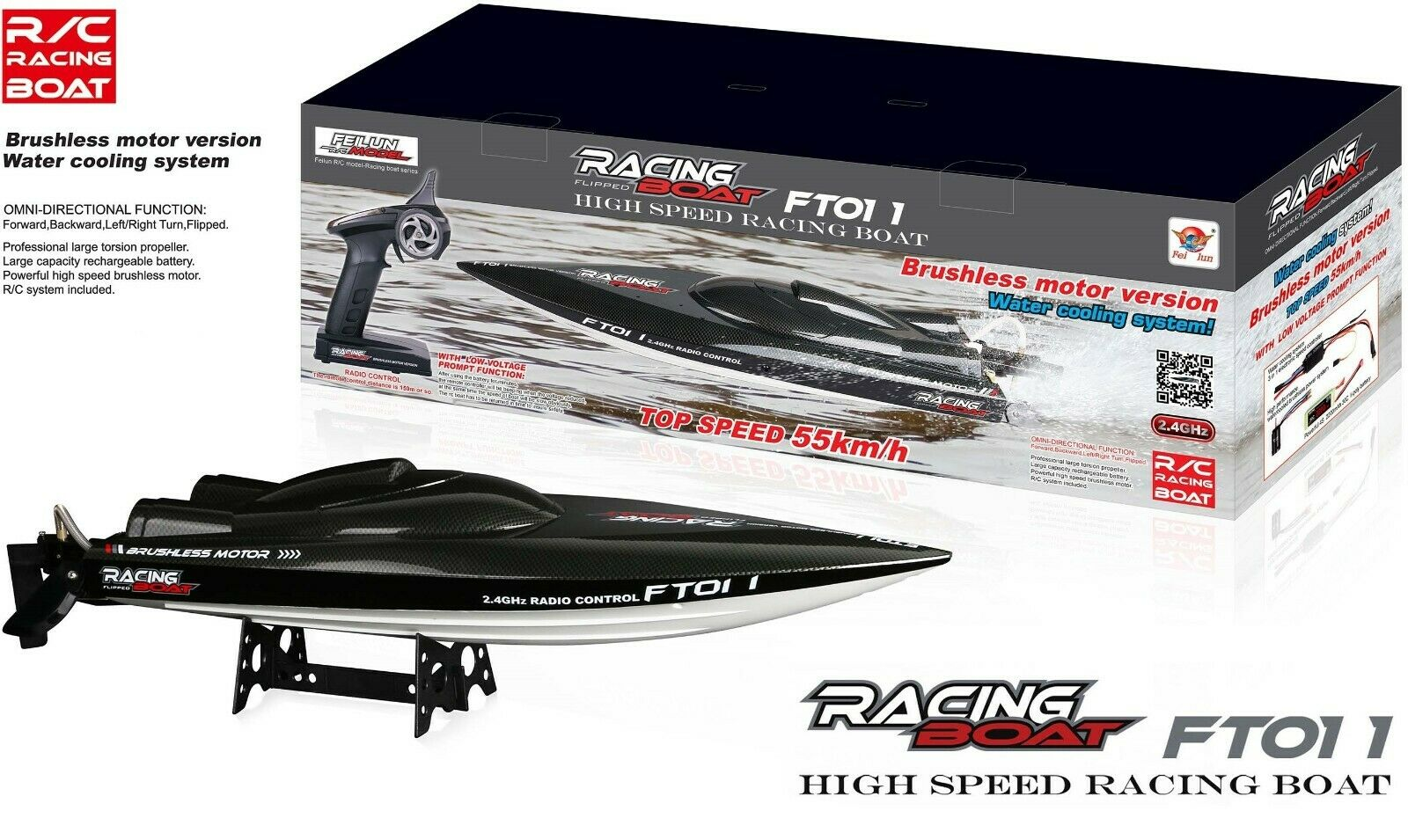 65CM RC Racing Boat Brushless Motor  FAST 55km h Built-in Water Cooling System  risparmia fino al 70%