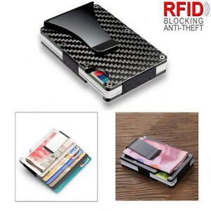 Carbon-Fibre-Wallet-Money-Clip-Ultra-Slim-ID-Credit-Card-Holder-RFID-Protection