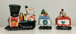 Vintage-Christmas-Santa-Noel-Train-Candle-Set-Holder-Candles-Included-New