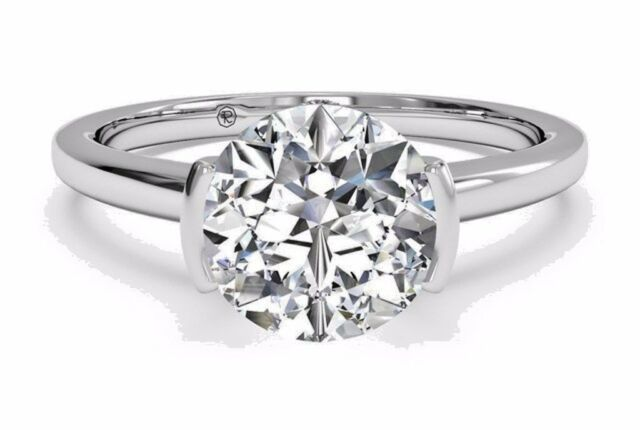 3.02 Ct Brilliant Cut Diamond Bridal Engagement Ring 14kt Solid White Gold