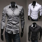 Mens Luxury Long Sleeve Casual Slim Fit Stylish Dress Shirts Keeping Young Black