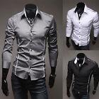 New Fashion Mens Luxury Long Sleeve Casual Slim Fit Stylish Dress Shirts Black