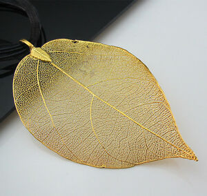 Free-Dipped-18K-Gold-Plated-Real-Nature-Filigree-Leaf-Pendant-Organza-Necklace