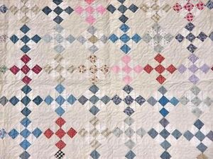 MULTICOLORED-9-PATCH-ANTIQUE-QUILT-w-TICKING-FRAME-c-1920s