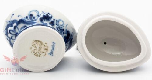 Porcelain Gzhel Egg Holder w Angel w egg display trinket box handmade