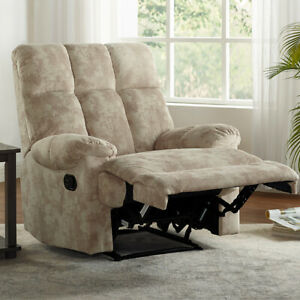 Suede Recliner Chair Overstuffed Sofa Sturdy Structure Padded Armrest Footrest