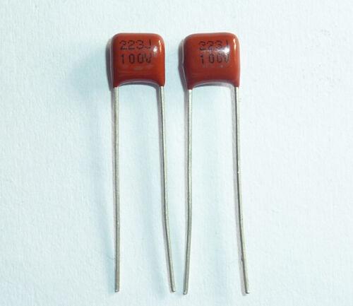 50PCS CL21X 223J 100V P5 0.022UF 22NF Metallized Film Capacitor