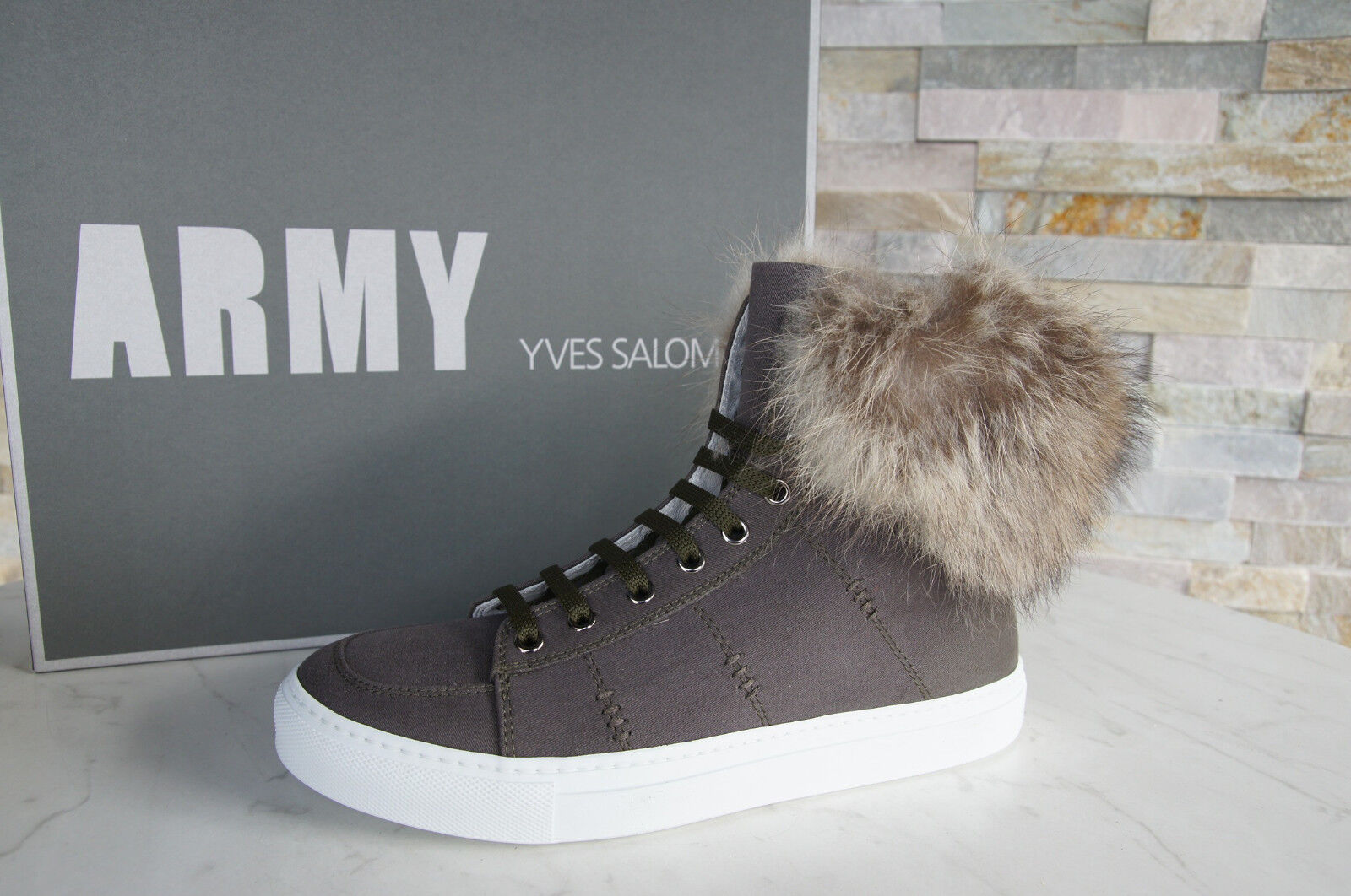 Army Yves Salomon 41 High Top Sneakers Marmot fur shoes New Previously