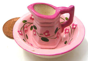 1:12 Scale Pink Floral Ceramic Jug & Wash Bowl Tumdee Dolls House Bedroom P40