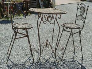 Détails sur salon de jardin haut / table haute / mange debout + 2 chaises  haute
