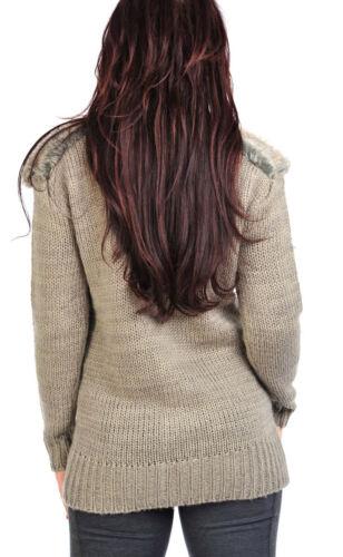 Adorno de piel de mujer tejido Cardigan Gris Piedra Damas Nuevo Tamaño 16 18 20 22 24 26
