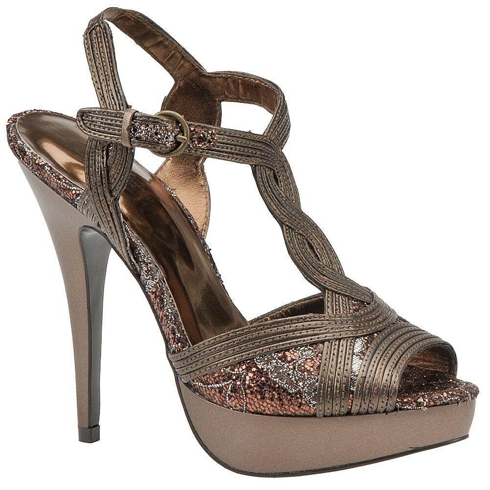 Carlos Santana VIENNA Bronze Glitter T-Strap Platform Heels, 6M - MSRP 98
