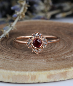 1-6ct-Round-Cut-Red-Garnet-Engagement-Ring-14k-Rose-Gold-Finish-Floral-Solitaire