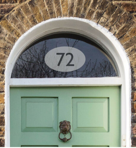 Door Sign Traditional Fanlight Sticker House Number Etch Effect in Oval
