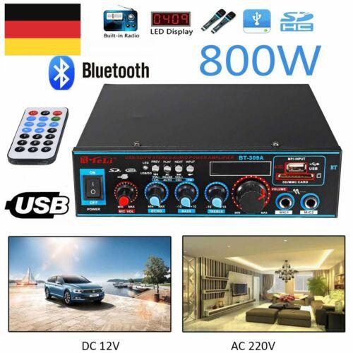 Profi Bluetooth FM Stereo HiFi Verstärker Mini Amp USB SD MP3 Player 12V 220V