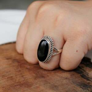 925-Sterling-Silver-Oval-Shape-Black-Onyx-Handmade-Ring-All-Size-KGJ-R-1021