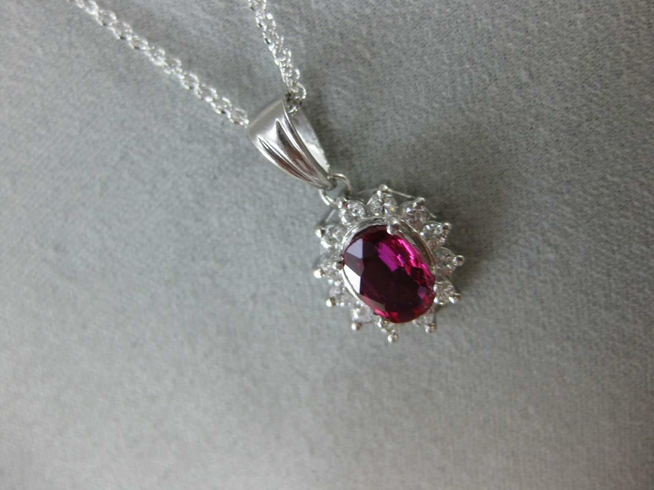 ESTATE 1.65CT DIAMOND RUBY PATINUM LADY DIANA CLU… - image 4