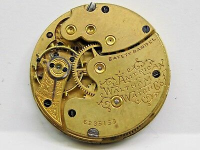Fine Antique Waltham Pocket Watch Movement # 6235155 Commodities Are Available Without Restriction 29 Mm In Size