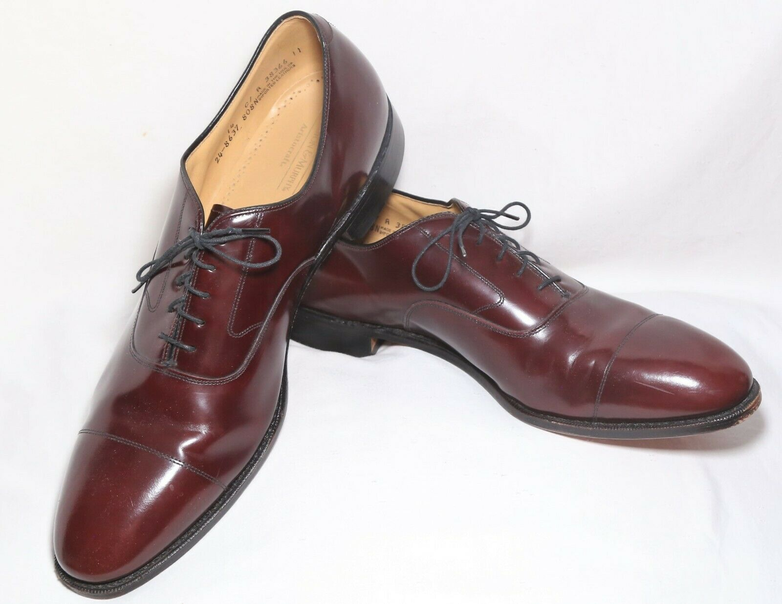 NearNew_Made in USA_Johnston & Murphy ARISTOCRAFT Hyde Park Oxfords_Cordovan_14C