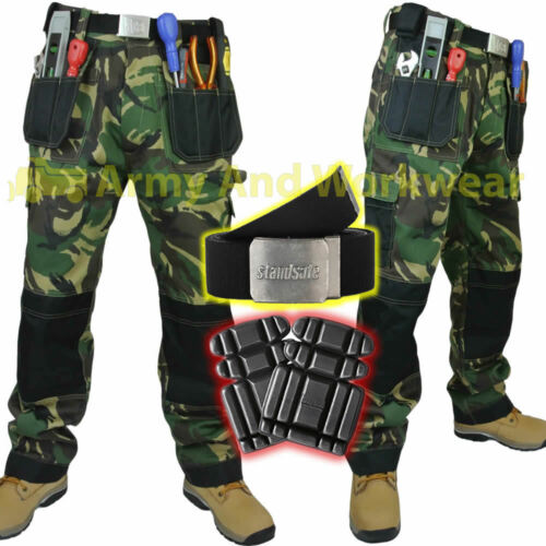 Da Uomo Mimetico Lavoro Pantaloni Ginocchio//Multi Tasca Tripla Cucitura GRATIS Ginocchiere e Cintura