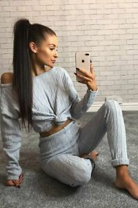 Womens-Ladies-Cable-Knitted-Co-ord-Bottoms-Cropped-TopSuit-Lounge-wear-Tracksuit