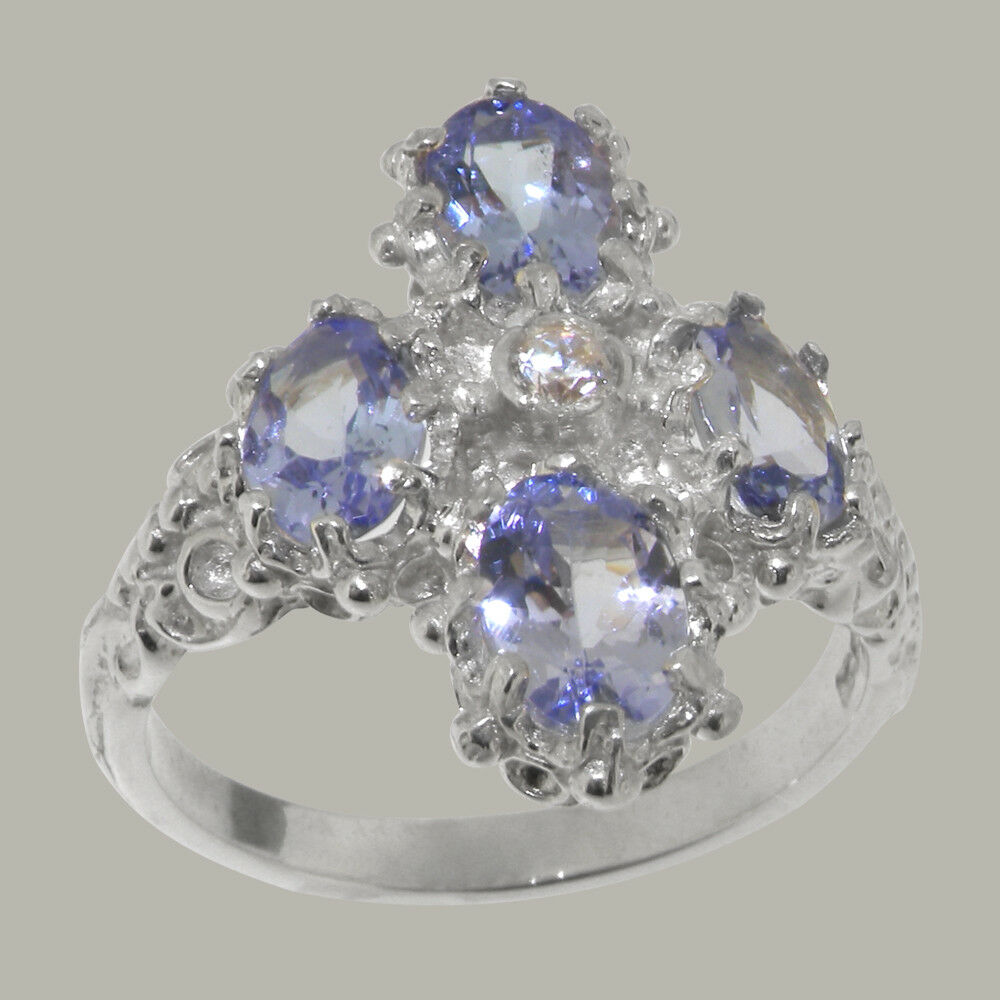 9k White gold Cubic Zirconia & Tanzanite Womens Cluster Ring - Sizes 4 to 12