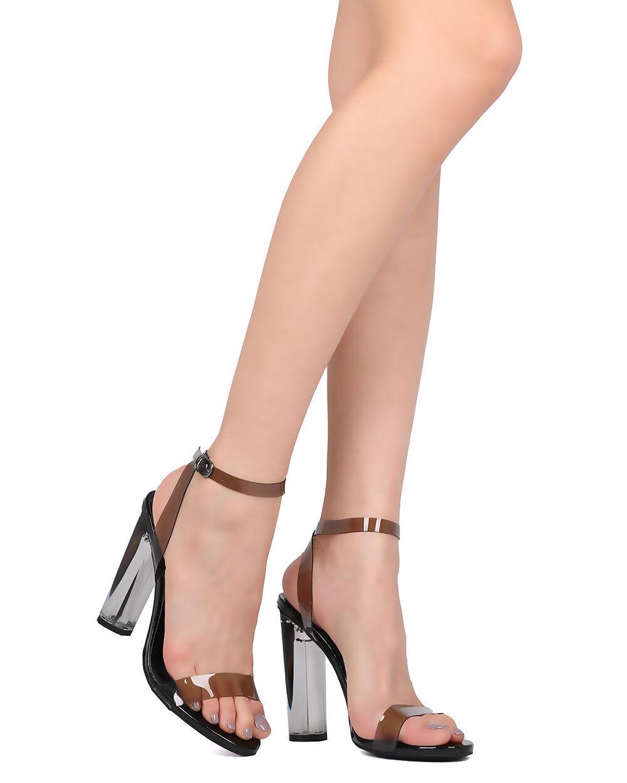 New Women Wild Diva Mono-07 Lucite Open Toe Ankle Strap Chunky Heel Sandal