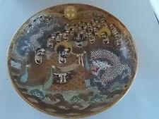 Antico c19th dipinta a mano firmato giapponese Satsuma Dish Ciotola immortali & Dragon