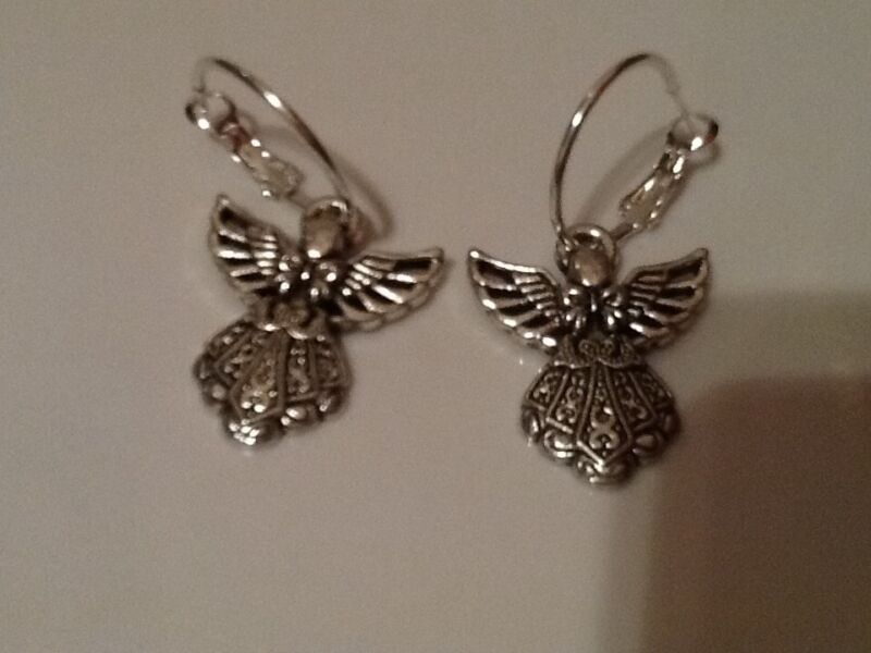 Large Angel Hoop Earrings Silver In Colour