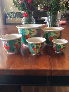Williams Sonoma Ceramic Planters Set 5