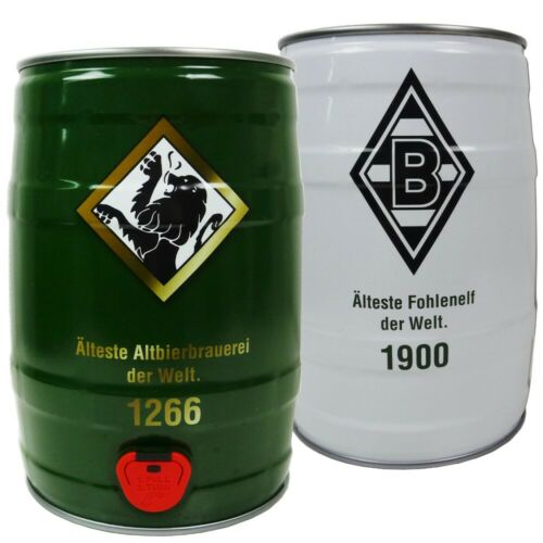 Borussia M'Gladbach 5 l Fass Bolten Altbier  2 Fußball er Set Altbiergläser
