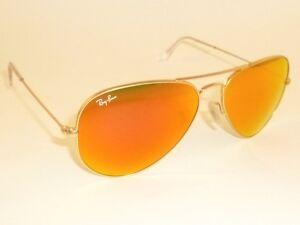 ef22294ba4c New RAY BAN Aviator Sunglasses Matte Gold RB 3025 112 69 Orange ...