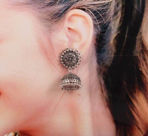 Oxydé Plaqué Argent Handmade Sun Clous Fleurs jhumka JHUMKI Boucles d/'oreilles femmes # @ $