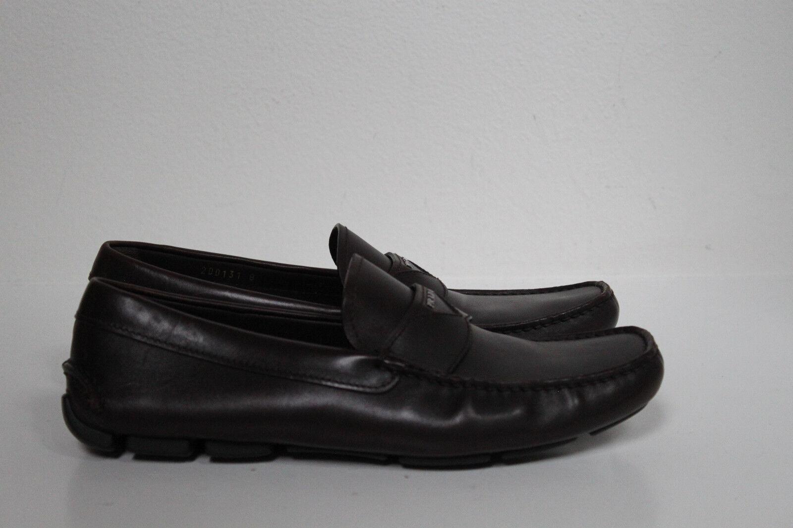 Sz 9 US   8 UK Prada Slip on Brown Leather Logo Driving Loafer Moccasin shoes