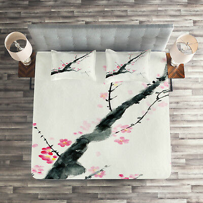 Cherry Sakura Blossoms Print Japanese Quilted Bedspread /& Pillow Shams Set