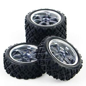 1-10-RC-Rally-Racing-Off-Road-voiture-caoutchouc-pneu-roue-moyeu-Set-4pcs