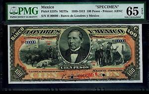 Mexico-RARE-100-Pesos-034-SPECIMEN-034-Banco-de-Londres-Y-Mexico-1889-1913-PMG-65