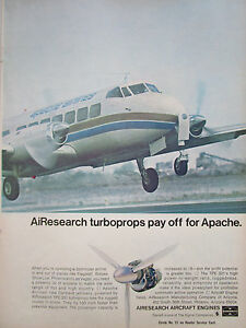 Details about 2/1969 PUB GARRETT AIRCRAFT ENGINES TPE331 TURBOPROP APACHE  AIRLINES / CESSNA AD