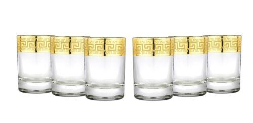 Greek Key Lead Free Glassware 8-pc Gold Rimmed Decanter w// Shot Glasses Set